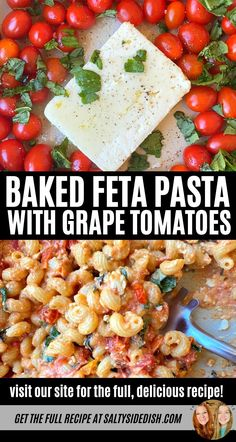 Baked Feta Pasta with Grape tomatoes, baked in the oven to burst tomatoes, fresh basil, salt and pepper and then added pasta, a tiktok viral side dish that everyone is craving, rich, delicious and easy to make! Tomato Pasta Bake, Spinach Pasta Bake, Feta Pasta, Wine Recipes, Pasta Recipes, Cooking Recipes, Pasta With Grape Tomatoes, Grape Tomato Recipes, Pasta Dinners