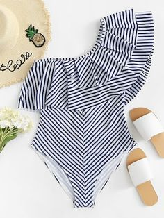 Shop Layered Flounce Striped One Shoulder One Piece Swimsuit online. SHEIN offers Layered Flounce Striped One Shoulder One Piece Swimsuit & more to fit your fashionable needs. Monokini, Bikini Sets, Summer Outfits, Cute Outfits, Model Outfits, Cute Bathing Suits, Cute Swimsuits, Beachwear For Women, One Piece Swimsuit
