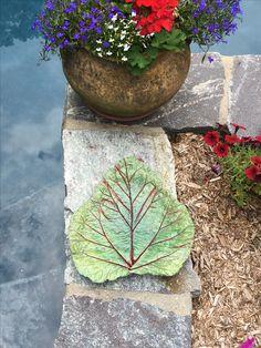 Rhubarb leaf casting made into Birdbath. Outdoor Crafts