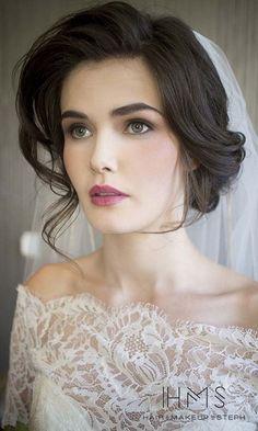 Romantic updo wedding hairstyle - medium hair, elegant. See more: www.weddingforwar... #weddinghairstyles #bridalhairstyles