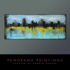 Landscape Abstract painting   Skyline City by PanoramaPaintings, $419.00