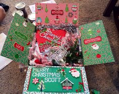 Completed Christmas Care Package Christmas Presents For Teachers, Christmas Care Package, Diy Christmas Gifts For Boyfriend, Cute Boyfriend Gifts, Easy Diy Christmas Gifts, Christmas Gift Baskets, Christmas Gifts For Friends, Christmas Gifts For Mom, Christmas Gift Wrapping
