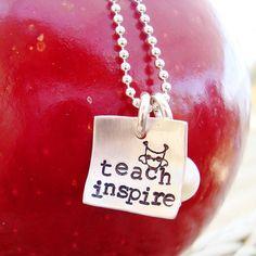 Teacher Necklace.. hand stamped teacher jewelry.. sterling silver teacher necklace.. inspirational jewelry $30 #etsy #teacher #jewelry