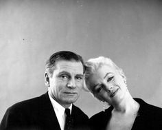 """Marilyn and Laurence Olivier in a publicity photo for """"The Prince and The Showgirl"""". Photo by Milton Greene, 1956."""