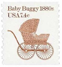 USA 1982 Scott#1902 7.4c Baby buggy.Early transportation for Baby.