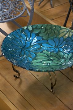 Blue Glass Birdbath - I bought this for my garden!