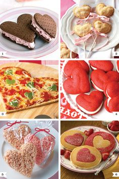 More fun Valentine Recipes!: 1.chocolate strawberry heart shaped ice cream sandwiches 2. heart shaped cherry pie pops 3. heart shaped pizza 4. heart shaped red velvet whoopie pies 5. sweet heart rice krispie treats 6. heart pancakes