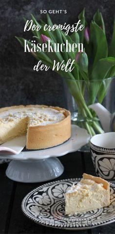 Himmlisch cremiger Käsekuchen ganz einfach und ohne Puddingpulver. Das Rezept gibt es auf meinem Blog: #käsekuchen #cheesecake #rezept