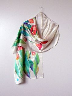 Silk hand painted scarf womens scarves batik satin by Allatai