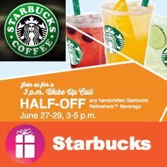 REFRESHERS are half-off at Starbucks Thursday, Friday & Saturday (June 27 - 29) from 3 to 5pm - I'm ordering Valencia Orange - Which flavor will you try? http://freebies4mom.com/refresh/