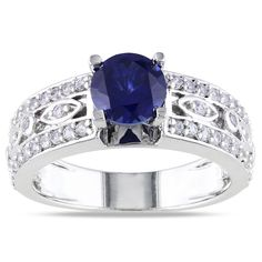 Miadora Sterling Silver Created Blue Sapphire Engagement Ring (White Sapphire Size 7.5), Women's
