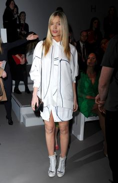 Pin for Later: The Burberry Front Row Upped the London Fashion Week Ante Laura Whitmore Laura was all white on the night at the Jasper Conran show.