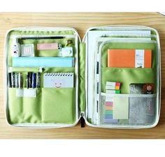 Pouches as the preferred way to organize school supplies.