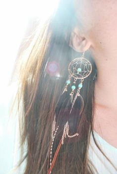 Dream Catcher Earrings -I seriously need to get my ears pierced!! Love these!