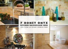 Honey onyx kitchen backsplash tile ideas from Backsplash.com