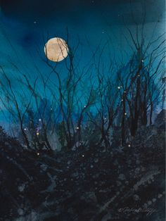 Firefly Moon // Full Moon // Watercolor // Night Sky // Fireflies // Stars // Art Print // Magical. $75.00, via Etsy.
