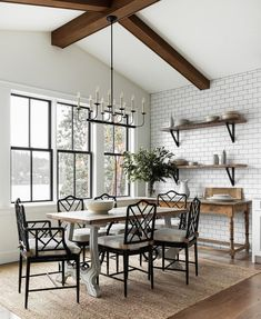 Farmhouse Dining Room by Marianne Simon Design Bamboo Dining Chairs, Trestle Dining Tables, Character Home, Trendy Home, Modern Farmhouse, Farmhouse Kitchens, House Design, Design Design, Design Trends