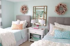 """Sophisticated teenage girls bedroom makeover The walls are painted a light green color called """"green trance"""" by Sherwin-Williams. Blue Teen Girl Bedroom, Teenage Girl Room Decor, Girls Bedroom Colors, Teen Girl Rooms, Teenage Girl Bedrooms, Bedroom Color Schemes, Girls Furniture, White Furniture, Furniture Ideas"""