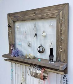Jewelry Holder FREE SHIPPING Large Wood Wall Hanging Display Necklace Earring Storage Jewlery Organizer Frame With Shelf