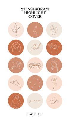 Boho instagram story highlight icons hand drawn line art