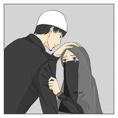 Shared pin anyone Love Cartoon Couple, Cute Couple Art, Cute Love Cartoons, Cute Muslim Couples, Cute Couples, Muslim Girls, Muslim Couple Photography, Islamic Cartoon, Muslim Family