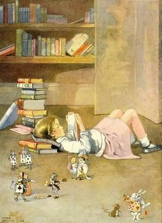 "Books come alive -- little girl reading  and the characters from Alice in Wonderland around her (likely that is the book she is reading, and the little girls is in her own way off in a ""wonderland"" created by reading)"