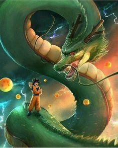 Goku & Shenron, Dragon Ball Z - - anime Dragon Ball Gt, Dragon Z, Black Dragon, Photo Dragon, Manga Dbz, Sheng Long, Super Anime, Goku Super, Image Manga
