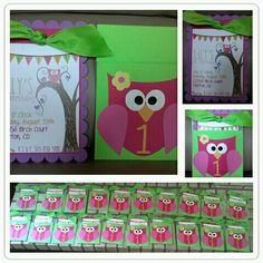 Owl Birthday Party Invite, Girls 1st Birthday, Owl Theme #birthday #owl #girl #invitation  http://anniesadler.net/