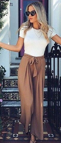 #summer #fashion #outfits | White Top + Camel Pants