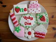 Strawberry Birthday Cookies by Audrey's cookies.