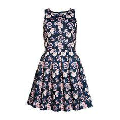 High Neck Scuba Print Dress ($110) ❤ liked on Polyvore featuring dresses, pink print, blue skater dress, floral dress, floral skater dress, vintage embroidered dress and flower print dress