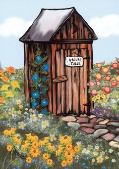 A Drawing Of An Outhouse With A Heart On The Door Entitled