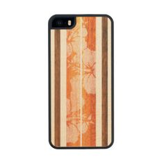Haleiwa Surfboard Hawaiian Striped Wood Phone Case For iPhone SE/5/5s