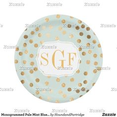 Monogrammed Pale Mint Blue and Gold Glitter Dots