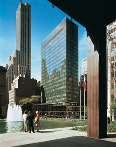 View of the Lever House by Gordon Bunshaft of Skidmore, Owings & Merrill (viewed through the colonnade of Philip Johnson's Seagram Building), New York, 1959 As well as California, Shulman photographed...
