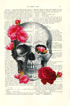 "Human skull with bright pink roses on an upcycled book page. Skull art print home decor online shop SALE Buy 2, get 1 FREE ! Please do not add your 3rd print to your shopping cart. Just let me know the choice for your free print in the ""notes to MadameMemento"" box that appears upon"