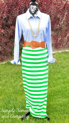 Easy Striped Maxi Skirt Tutorial - Simple Simon and Company