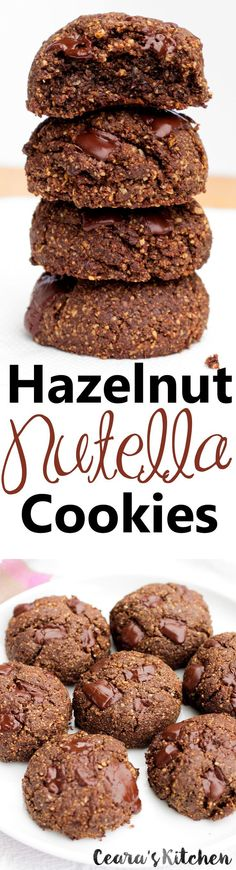 #Vegan Nutella Cookies (Dark Chocolate Hazelnut Cookies)!  are naturally vegan, #glutenfree and #grainfree! They #cookies are super fudgey, decadent, rich and soft!
