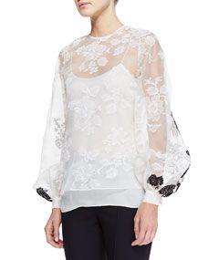 Oscar de la Renta sheer long-sleeve lace blouse