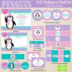 Penguin Party Printables - Winter Penguin Birthday - Printable Party Set - Winter Wonderland Party Kit - DIY Penguin Party