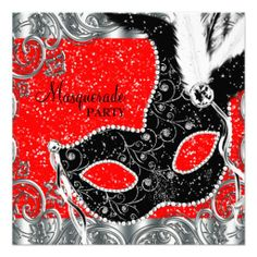 Silver Red and Black Mask Masquerade Party Custom Invite