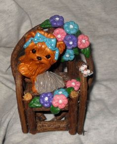 Polymer Clay Yorkie on vine chair!