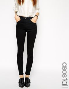 ASOS+TALL+Ridley+High+Waist+Ultra+Skinny+Ankle+Grazer+Jeans+in+Black