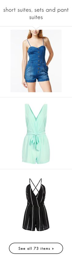 """""""short suites, sets and pant suites"""" by thesassystewart on Polyvore featuring jumpsuits, rompers, denim, playsuit romper, blue rompers, blue romper, sweetheart romper, denim rompers, romper and dresses"""