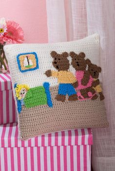 Goldilocks and the Three Bears Pillow in Red Heart Super Saver Economy Solids - LW4628 - Downloadable PDF. Discover more patterns by 113 at LoveKnitting. We stock patterns, yarn, needles and books from all of your favourite brands.