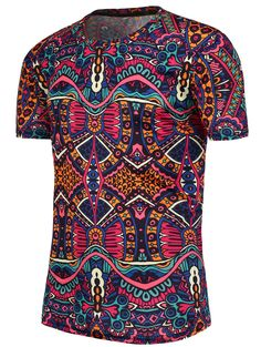 T-Shirts | Colormix National Pattern Short Sleeves T-Shirt - Gamiss