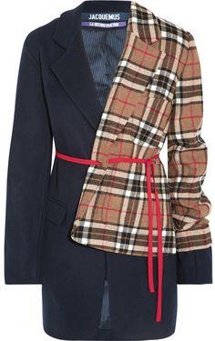 Jacquemus - Paneled Checked Wool-blend Blazer - Navy