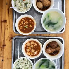 Street eats of málà tofu, braised chicken, fried rice and tofu broth