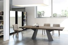 The Fiandre Luxury Dining table has a beautifully solid structure for a modern, designer dining table suitable for any modern interior Dining Suites, Luxury Dining Tables, Wooden Dining Tables, Dining Table Design, Dining Room Table, Table And Chairs, Italian Furniture Stores, European Furniture, Modern Furniture