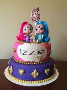 Shimmer and Shine Baby 1st Birthday, 6th Birthday Parties, First Birthday Cakes, Birthday Ideas, Shimmer And Shine Cake, Bubble Party, Cookie Pops, Party Cakes, Mirror Cakes